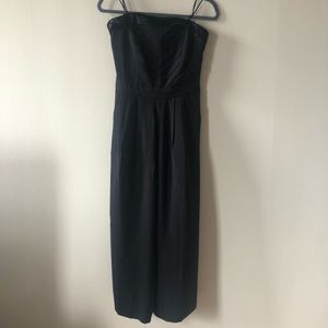 Anthropologie strapless black crop jumpsuit
